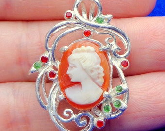 SALE, Carved Shell, Antique Cameo,Sterling Silver Pendent, Genuine Ruby and Emerald Accents,Italian Cameo, Hand Carved, Conch Shell,OOAK