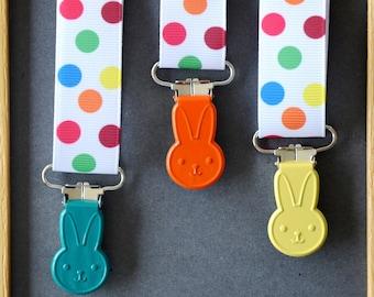 "Clip tie dummy/Suspender ""WABBITS"" green jade/orange/yellow"