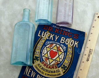 Set of 3 Dr. KING'S NEW DISCOVERY Medicine Bottles - 1878, 1910 &  1930's and 1910 Advertising Pamphlet…Quack Medicine at it's Very Best !
