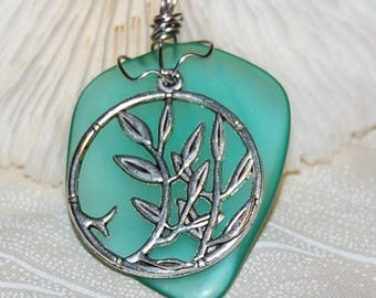 Bamboo Teal Green Glass Pendant Handmade Recycled Jewelry