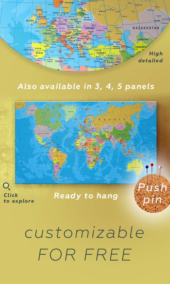 Political map of the world large world map canvas detailed publicscrutiny Image collections