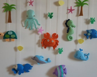 Mobile / table / turtle ocean animal wall pendant, dolphin, crab, whale, Octopus and fish.
