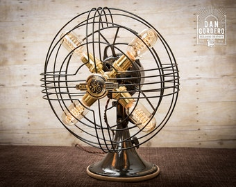 Fan Lamp   GE Model   Table Lamp   Desk Lamp   Nightlight   Bed light   Vintage Fan   Lamp   Steampunk lamp   Steampunk   Industrial Light