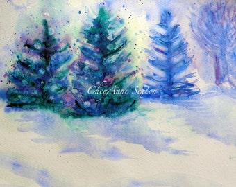 Snowy Winter Tree Landscape - ORIGINAL Winter Watercolor - Piñon Pine Fir Spruce Trees  - 9x12