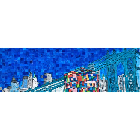 "Brooklyn- New York City- Manhattan Bridge- DUMBO Architectural Art 8""x24"" original painting"