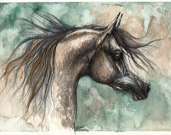 Dark grey arabian horse, equine art, equestrian, original pen and watercolor painting