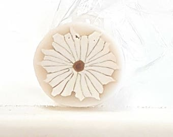White Daisy Cane, White Flower, Raw Polymer Clay Millefiore Unbaked