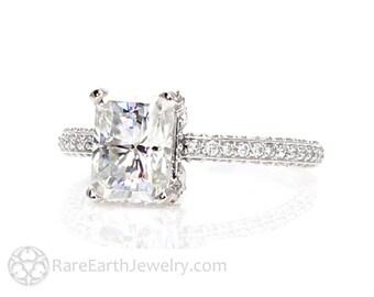 Radiant Moissanite Engagement Ring Pave Diamond Solitaire Forever One Moissanite Ring 14K Custom Engagement Ring