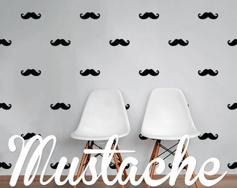 Mustache Wall Decal Pack, Vinyl Wall Sticker Decal Art Pattern WAL-2195