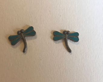 Sterling Silver Turquoise Tiny Dragonfly Post Stud Earrings