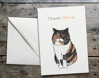 Funny Thank you Cat Card - 'Thank Meow' Cute Cat