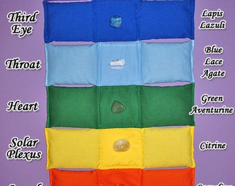 Set of 7 Chakra Pillows with Cases and Info Cards for Energy Healing