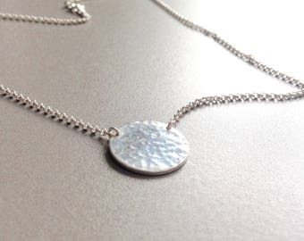 Sterling silver disc necklace, sterling silver necklace, simple silver necklace, hammered sterling circle necklace, dainty sterling jewelry