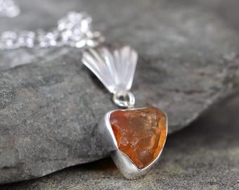 Mexican Fire Opal Pendant - Rustic Uncut Fire Opal Necklace - October Birthstone - Raw Orange Opal