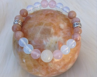 Opalite + Rose Quartz + Sunstone + Clear Quartz Handmade Gemstone Bohemian Chic 8mm Healing Crystal Yoga Bracelet