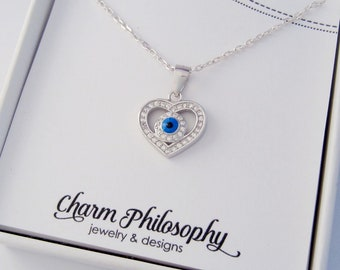 Heart Evil Eye Necklace - Blue Round Evil Eye Pendant - Clear Cubic Zirconia Heart - 925 Sterling Silver