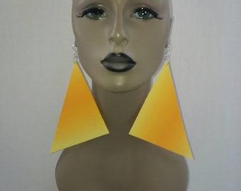 Attractive Yellow Gold Orange Triangle Fabric Earrings, Women Earrings, Fashion Fabric Earring, Large Earrings, Big Earrings, Long Earrings
