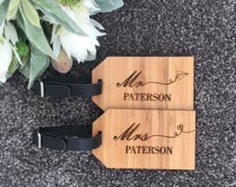 Bamboo Set of 2 Luggage Tags - Plane & Heart