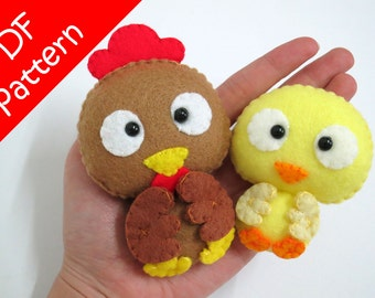 Chicken and Chick Plush PDF Pattern - Instant Digital Download