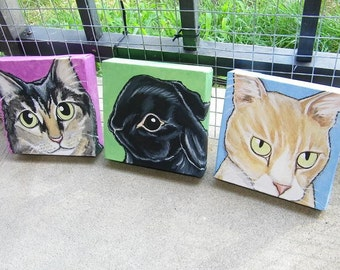 Set of Three Custom Pet Portrait Paintings 6x6 cat dog horse , pet lover gift, pet memorial