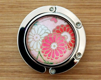 Metal Purse Hanger - Foldable Purse Hook - Yuzen/Chiyogami - Handmade - Daisies on Pink