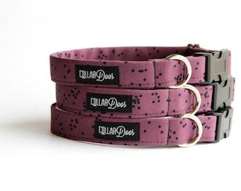"Purple and Black Dot Dog Collar Leash XS Small Medium Large-""Spot On"""