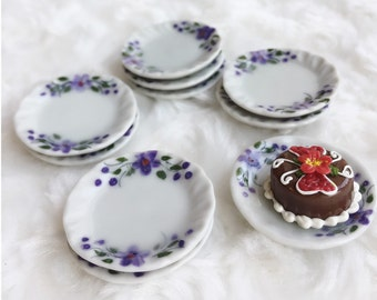 5Pcs Miniatue plate,mini ceramic plate,miniature food plate,Miniature tray,plate,dollhouse plate,dollhouse miniature Tray