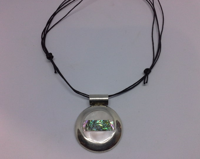 Sterling Silver Round Modernist Pendant Mother of Pearl & Paua Shell Inlay on Corded Necklace