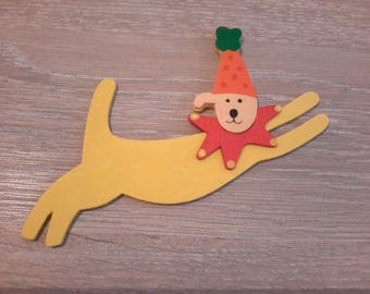 dog clown wooden deco or creation