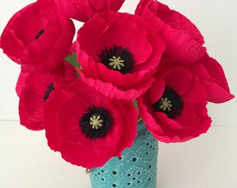 SIX Paper Poppies in choice of colors