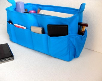 Extra large Bag organizer- Purse organizer insert in Blue fabric