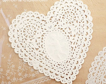 30 Lovely Cupid Heart Paper Doilies - White (5.7 x 5.7in)