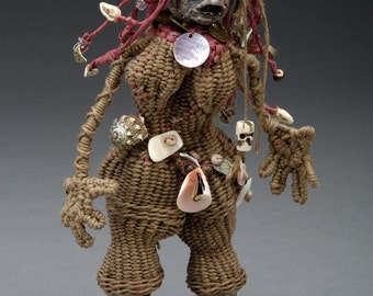 Art Doll,  Woven Fiber Art Sculpture,Umang Umang, Shell Clayfoot Girl, Khaki and Cedar