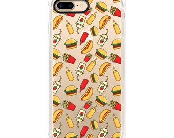 Burger and Fries iPhone Fashion Case - Anti Shock and black Edge
