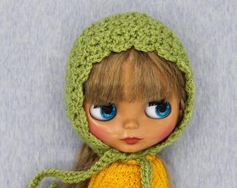 Crochet Blythe Bonnet helmet hat Apple green