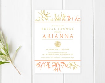 Bridal Shower Invitation, Summer Bridal Shower Invitation, Coral and Gold, Sea Shell Bridal Shower Invitation, Beachy Bridal Shower [434]