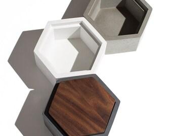 Hexagon Concrete Box with Walnut lid / Minimalist Home Decor/Jewelry Box