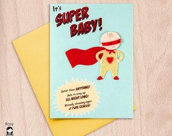 Super Hero Baby, congratulations card, greeting card, new baby card, super baby, unisex baby card, funny baby card, funny card