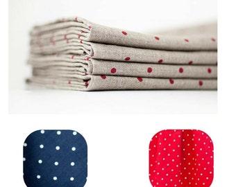 Polka dot napkins - Gray red napkins - Blue white napkins - Navy napkin cloths - Dotted cloth napkins - Linen napkins - Washed linen napkins