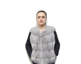 Gray Vest,Real Mink Fur Vest F400
