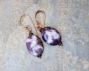 Purple Earrings, Natural Stone Earrings, Lepidolite Earrings, Handmade Earrings, Copper Earrings, Bohemian Earrings, Purple Jewelry, For Her