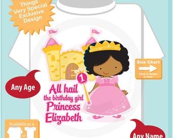 First Birthday Shirt, Dark Skin Princess Birthday Shirt, Personalized Cute Princess 1st Birthday Girl Tee Shirt (01052017d)