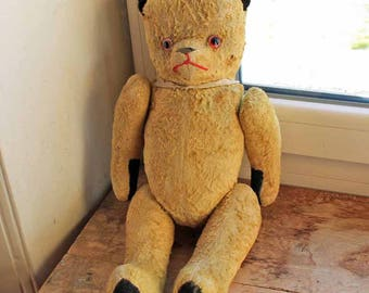 French Antique teddy bear with growling system intact blonde / glass eyes wood wool / Straw Filled Vintage Teddy Bear