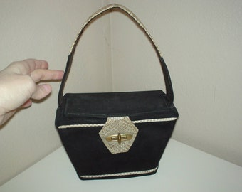 Beautiful Structured Black Suede and Snakeskin Box Purse