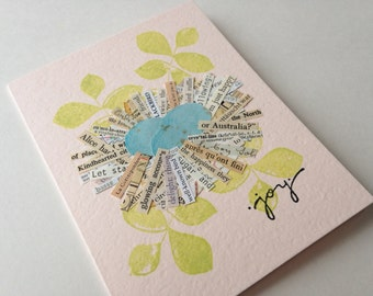 Joyful Nest Handmade Greeting Cards - collage, nest, eggs, joy, vintage text and maps - New Baby, Expecting, New Home, Birthday