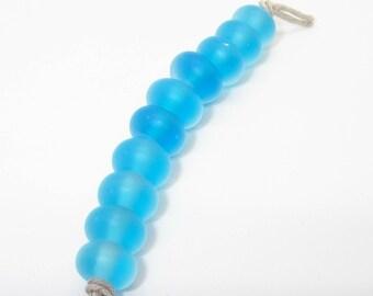 Aqua Matte Handmade Lampwork Glass Beads Ocean Beach - Prima Donna Beads