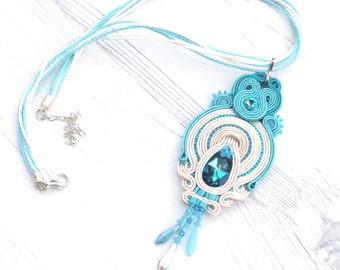 Turquoise Soutache Necklace Pendant-Swarovski Crystal-Turquoise Swarovski Necklace Pendant-Swarovski Jewelry-Turquoise Bohemian Necklace