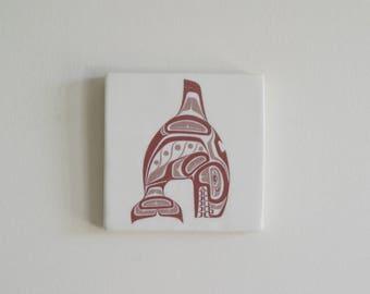 Haida Whale Haida Wall Decor Wall Art Wall Tile Haida Home Decor Haida Whale Handmade Tile  Ceramic Hanging Tile