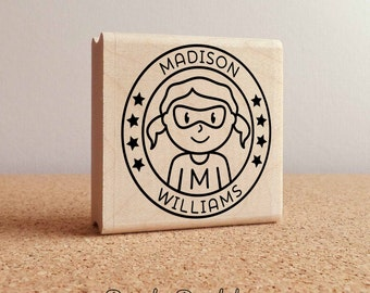 Personalized Superhero Girl Rubber Stamp - Choose Name, Hairstyle and Accessories