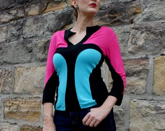 Pink, Aqua and Black Keyhole Graphic Knit Top, Graphic Women's Blouse Design, Long Sleeves, Color Block, Australian Fashion.